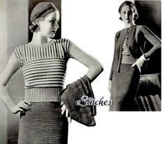 1930s Sports Suit Striped Blouse Jaunty Hat Coat and by eStitches