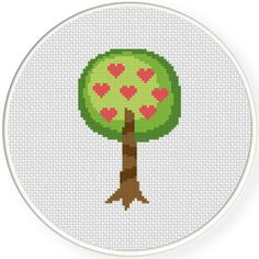 FREE for Jan 22nd 2016 Only - Heart Tree Cross Stitch Pattern