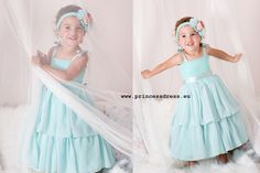 Beautiful romantic mint dress for girls. Dress with a bodice of elastic lace and satin straps are wide ruched chiffon skirt. The waist decorated with satin ribbon. Wedding Girl, Wedding Dresses For Girls, Girls Dresses, Flower Girl Dresses, Mint Dress, Princess Style, Chiffon Skirt, Stretch Lace