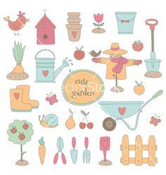 Gardening set vector by Julia_Henze on VectorStock®