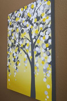 Yellow and Grey Art, 18x24 Textured Tree, Acrylic Painting on Canvas, READY TO…