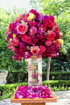 gorgeous pink purple reception wedding flowers,  wedding decor, wedding flower centerpiece, wedding flower arrangement, add pic source on comment and we will update it. www.myfloweraffair.com can create this beautiful wedding flower look.