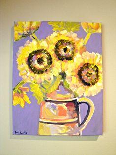 Sunflowers of Strength, 11 x 14 Flower Still Life, Acrylic on Canvas, Evelyn Henson, www.evelynhenson.com