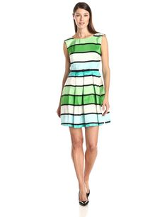 Julian Taylor Women's Sleeveless Stripe Fit and Flare Dress, Turquoise/Green, 8