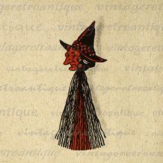 Antique Witch Printable Digital Graphic by VintageRetroAntique