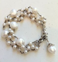 Chunky Pearl Bracelet Wire Wrapped by leslielewisdesigns | Pearl Bracelet Jewelry | Donna's Style