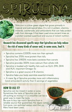 Spirulina, a blue-green algae that grows primarily in tropical and subtropical lakes, has been used since ancient times as a protein-packed superfood and source of instant nutrition. Researchers have also discovered specific ways that Spirulina algae can help reduce the risk of many kinds of cancer and, in some cases, heal it. Click on the image to read more about this awesome superfood.