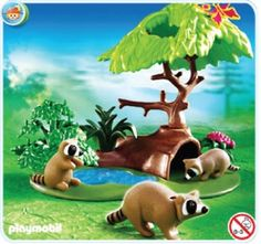 Amazon.com: Playmobil Forest Lodge Raccoons: Toys & Games