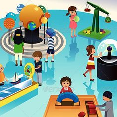 Buy Kids on a Trip to a Science Center by artisticco on GraphicRiver. A vector illustration of kids on a trip to a science center. Vector illustration, zip archive contain eps 10 and high. Kid Science, Science Games For Kids, Fun Activities, Basketball Background, Nature Vector, Virtual Field Trips, Plant Vector, Coding For Kids, Children Images