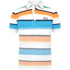 BOSS Boys Turquoise Striped Cotton Pique Polo Top