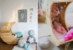 What infant or toddler wouldn't love to sleep in this fairytale moon crib or bed? Designed by Creme Anglaise, the moon crib retails at around - a bit pricey for us South Africans, but you could make your own moon crib or bed. Baby Bassinet, Baby Cribs, Moon Crib, Everything Baby, Cool Baby Stuff, New Baby Products, Kids Room, Toddler Bed, Infant Bed