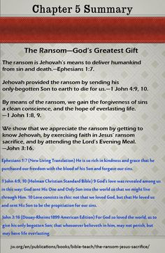 Summary Chapter 5 - The Ransom—God's Greatest Gift #whatdoesthebiblereallyteach #wherearethedead #woljworg #jworg #bible #scriptures #Jehovah, #Yahweh #Jesus #Christ #truth #kingdom #goodnews #preach #God #biblestudy #ransom #worship #faith #lord #tvjworg #paradise #heaven #earth #love #Christian #newsystem #newworld #divinename #Tetragrammaton #deathnomore #Godsgovernment #everlastinglife #resurrection #death #Jeshua #Yeshua #lastdays #watchtower #awake #newworldtranslation…