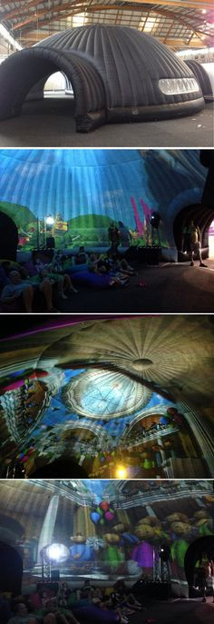 Inflatable Projection dome - #ShowFan Amazing. They can be large enough to fit 500 people, and they make inflatable furniture ( no surprise) as well! Cool  design idea. PopUp Republic