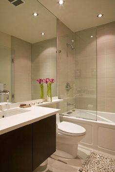 Contemporary Full Bathroom with tiled wall showerbath, Undermount sink, frameless showerdoor, Concrete floors, Flush Condo Bathroom, Bathroom Renos, Bathroom Storage, Bathrooms Decor, Compact Bathroom, Remodel Bathroom, Small Bathrooms, Beautiful Bathrooms, Bathroom Renovations
