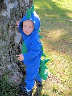 Homemade Dinosaur Costume - Get hooded sweatshirts and sweat pants and then sewed a round tummy, spikes down the back and tail. Super cute and simple!