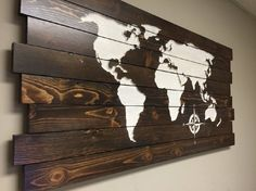 Pallet Sign World Map, CARVED, Wood Wall Art, Home Wall Decor, Wooden, Modern, Rustic, Distressed, Wedding, Birthday, Anniversary gift idea