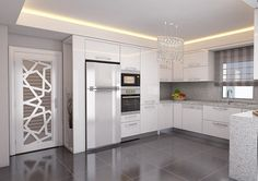 Avangard ve Klasik Tasarım Mutfak Modelleri Avangard Desenli Mutfak Mobilyası Kitchen Room Design, Kitchen Cabinet Design, Living Room Kitchen, Home Decor Kitchen, Interior Design Kitchen, Kitchen Furniture, Home Kitchens, Interior Door, Apartment Interior