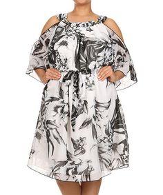 Look at this #zulilyfind! White & Black Floral Cutout Dress - Plus #zulilyfinds
