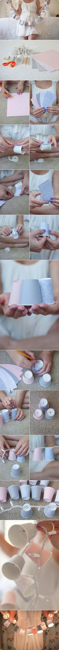 Copos com pisca pisca e outras idéias -- Cover Dixie cups with fancy paper to make small shades for string lights. Fun Crafts, Diy And Crafts, Arts And Crafts, Paper Crafts, Diy Paper, Tree Crafts, Tissue Paper, Diy Projects To Try, Craft Projects