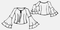 Raglan blouse with flare sleeves, minus the flare sleeves looks like a pretty simple top Blouse Pattern Free, Blouse Patterns, Top Pattern, Clothing Patterns, Free Pattern, Camisa Hippie, Manga Raglan, Sewing Blouses, Denim Crafts