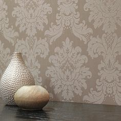 Arthouse Messina Damask Wallpaper - Taupe - http://godecorating.co.uk/arthouse-messina-damask-wallpaper-taupe/