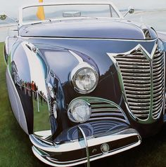 Realistic Old Polished Cars Paintings (NOT PHOTOGRAPHS!!!) Paintings of Cheryl Kelley artist look extra-ordinary so much they are realistic. In this series, the artist has painted fragments of old cars such as Cadillac and Mustang perfectly polished. Indeed, lights and colors effect are so well finished that car body shine as if it was brand new.