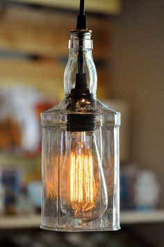 Recycled Whiskey Jack Daniels Wine Liquor Hanging Pendant Bottle Light Lamp.