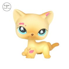 lps original toys standing short hair cat #816 Real Rare old yellow kitty figure free shipping #Affiliate
