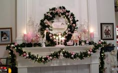 Pretty in Pink Christmas - My PINK Christmas mantle -  Stephanie at  http//angelicaccentsallthingschristmas.blogspot.com