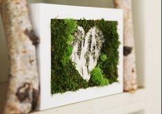 Birch Bark Heart & Moss Rustic Framed Art - Zero Care, Real and Preserved. Moss Wall Art, Moss Art, Birch Bark Crafts, Moss Graffiti, Moss Decor, Unique Valentines Day Gifts, Woodland Art, Green Wall Art, Organic Art
