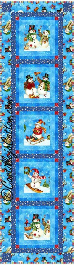 Windows Table Runner Quilt Pattern - Snowmen