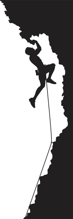Black and White Die Cut Rock Climbing Mountain by designwithvinyl