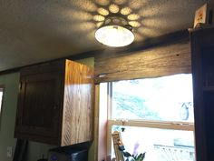 Window treatment and trim with barn board! Antique Items, Window Treatments, Track Lighting, Beams, Windows, Ceiling Lights, Rustic, Decorating, Home Decor