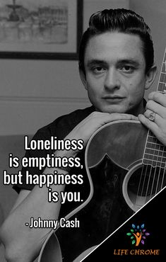 """""""Loneliness is emptiness, but happiness is you."""" - Johnny Cash  #JohnnyCashQuotes #LifeChrome #quotes #quotesdaily #quotestagram #quoteslover #motivationalquotes  #inspirationalquotes  #quotesandsaying #quotes4life  #quotestoday Quotes By Famous People, People Quotes, Johnny Cash Quotes, Country Music Singers, Loneliness, Paul Mccartney, Book Series, Real Talk, Song Lyrics"""