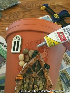 Here's how to make a sweetly whimsical DIY fairy house planter from a terra cotta pot & other inexpensive items. It's really easy, so why not give it a try? # Gardening in pots Whimsical DIY Fairy House Planter - LIFE, CREATIVELY ORGANIZED Fairy Crafts, Garden Crafts, Garden Art, Garden Planters, Garden Ideas, Succulents Garden, Fairy Garden Houses, Diy Fairy House, How To Make A Fairy House Kids