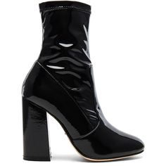 RAYE x REVOLVE Rowan Bootie (3,220 MXN) ❤ liked on Polyvore featuring shoes, boots, ankle booties, ankle boots, block heel boots, short boots, block heel bootie, high heel boots and patent ankle boots