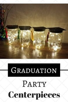 I love these mason jar graduation party centerpieces! They are perfect and class… I love these mason jar graduation party centerpieces! They are perfect and class… – Outdoor Graduation Parties, Graduation Party Planning, College Graduation Parties, Graduation Diy, Graduation Table Ideas, Grad Parties, Graduation Table Centerpieces, Graduation Decorations, Candle Centerpieces