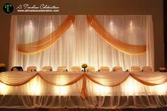 White & Gold Head Table Decor