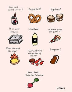 The Office foods - 24 Awesome Pop Culture Illustrations Office Themed Party, Office Birthday, Office Parties, 13th Birthday, Office Quotes, Office Memes, Office Tv, The Office Ryan, Office Ideas