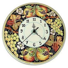 Round wall décor is not only beautiful but trendy. In fact, whether it be a chic round wall  clock, or piece of round metal wall art or even a round mirror wall art, you  will appreciate the variety of materials available that round wall art comes  in.       CERAMICHE D'ARTE PARRINI - Italian Ceramic Wall Round Clock Grape Art Pottery Painted Made in ITALY Tuscan