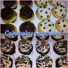2 Dozen cupcakes of Chocolatey Goodness in Peanut Butter Chocolate, Original Brownie, and Chocolate Chip Cookie Dough. #cakebabycupcakes #cupcakes #classics #Delivery #Atlanta