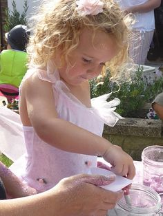 Make your own fairy dust - activity table at a fairy party - so cute