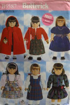"""Butterick 5587 18"""" Doll Clothes"""