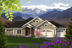 (**Front Elevation) Ranch Style House Plan - 2 Beds 2 Baths 1709 Sq/Ft Plan #70-1208 Exterior - Front Elevation - Houseplans.com