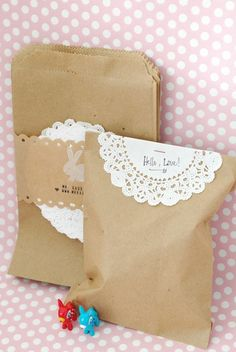 Paper bag and doilies for party favors