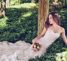 pretty...rebecca ingram 2017 bridal strapless semi sweetheart neckline full embellishment romantic blush color modified a  line wedding dress chapel train (mariah) mv