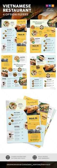 Buy Vietnamese Restaurant Menu Flyers 4 – 4 Options by Mike_pantone on GraphicRiver. Vietnamese Menu Print Bundle is also available. Menu Card Design, Food Menu Design, Food Poster Design, Stationary Design, Restaurant Flyer, Restaurant Menu Design, Restaurant Menu Template, Restaurant Oriental, Food Graphic Design