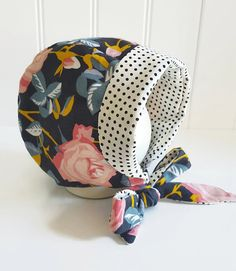 Modern Baby Girl Bonnet Corduroy Floral Bonnet by GraceandGraceCo