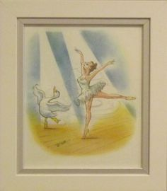 """""""Dancer"""" is encased in a white frame, 35cm x 40cm, in watercolour. For sale at  www.art-style-gallery.co.uk"""