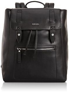 Diesel Men's Leather Beat Beat Flap Backpack, Black,One Size ** Click on the image for additional details.